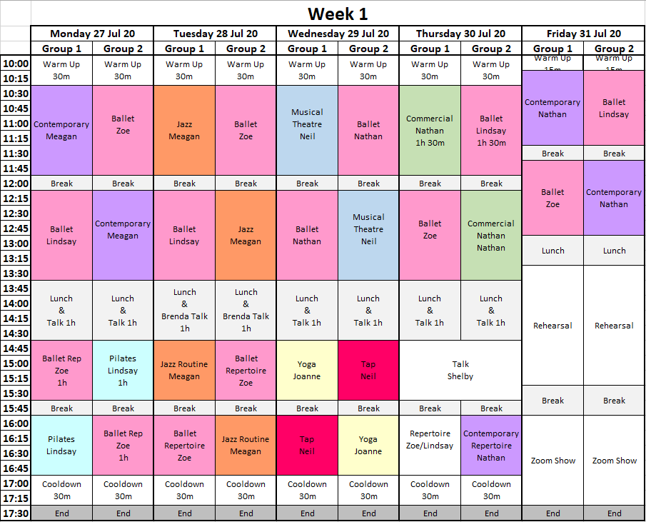 Time Table Week 1