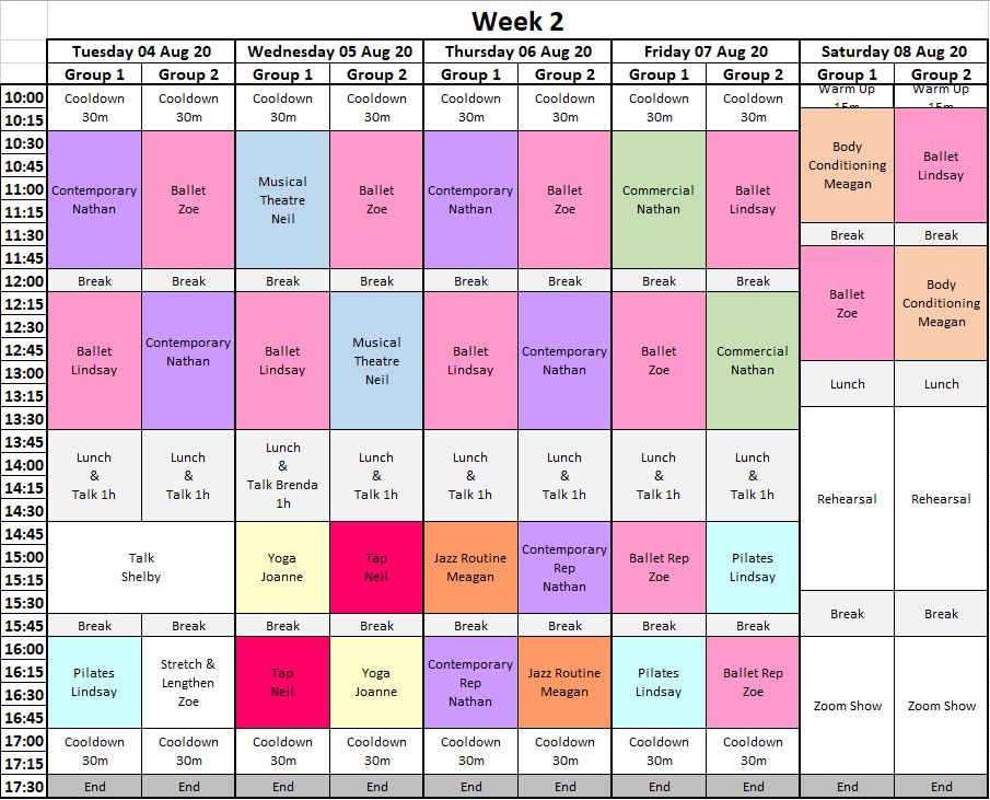 Time Table Week 2